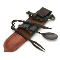 Medieval Iron Feasting Utensils with Pouch includes Knife, Fork and Spoon