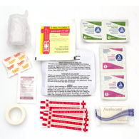 Canvas First Aid Kit includes Steripad, adhesive tape, bandages, alcohol prep pads, towelettes, sugar, soap, and aspirin.