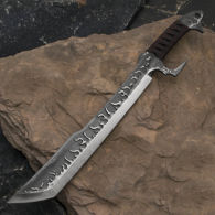 Flaming Chopper Fantasy Sword with Flame Designs on Blade