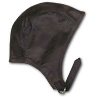 Brown cowhide leather flying cap worn by barnstormers, pilots of WWI, and a certain popular cartoon dog