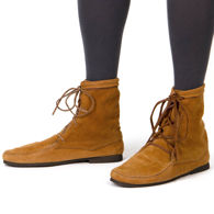 "Brown suede boots with 1/8"" thick cushioned insole and comfortable rubber sole so you can wear them all day long"