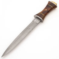 Royal Damascus Dagger has large burlwood grip with brass spacers and a mosaic rivet, and brass pommel with crown
