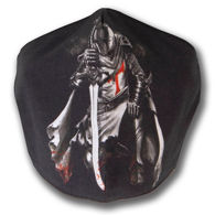 Black Cotton Face Mask with screen image of Templar Knight, adjustable straps and pocket for disposable filter