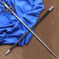 Windlass Deschaux Renaissance rapier has three-ringed swept hilt, wire wrapped bone grip, high carbon steel blade and includes scabbard