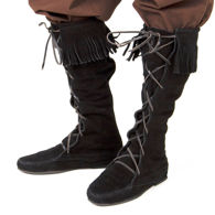 tall black suede boots with fringe have a comfortable rubber sole so you can wear them all day long