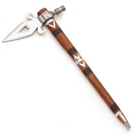 Spontoon Tomahawk with high carbon steel blade, wood handle with cross hatchinng and metal bands and fully functional pipe