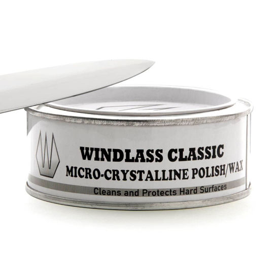 Windlass Classic Micro-Crystalline wax rejuvenates wood, leather, metal, polished stone, and other hard surfaces and is acid free