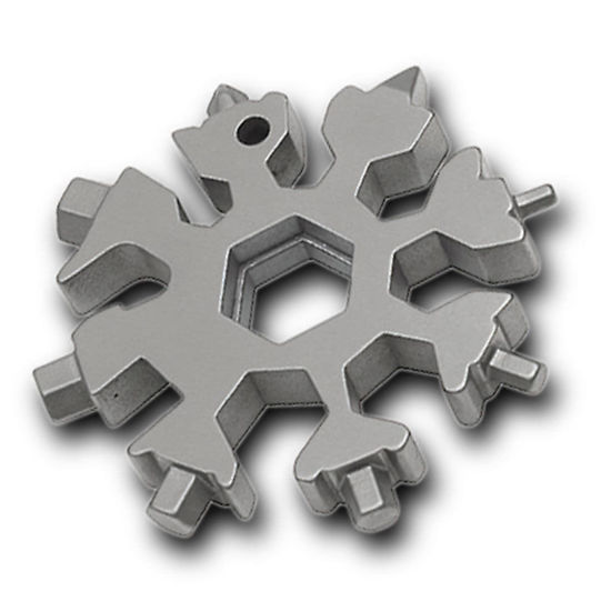 """This impressive Snow Crystal has 18 functions cleverly integrated into one solid chunk of 3Cr13 stainless steel that is  a compact 2-1/2"""" in diameter."""