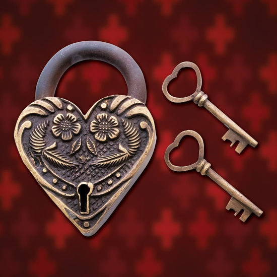 """large romantic brass and iron heart-shaped padlock measures  4-1/4"""" x 3"""", fully working with two brass keys"""