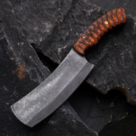 Full Tang Damascus Steel blade cleaver with contoured laminated wood scales, includes leather sheath