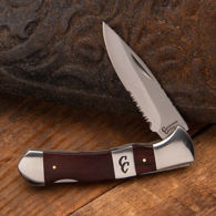 pocket knife with partially serrated 3CR13 stainless steel blade for stubborn materials like rope and cardboard