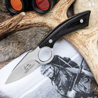 Hibben Legacy Skinning Knife has 5Cr15 stainless steel blade with a finger ring, pakkawood scales and includes leather sheath