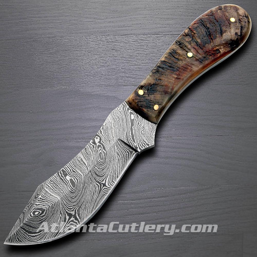 Rams Horn Big Game Damascus Skinner  Knife