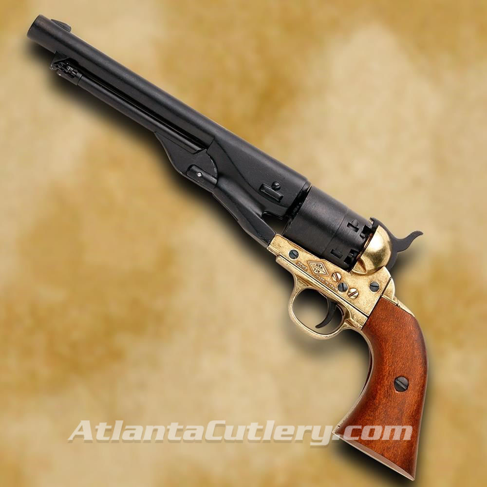1860 Army Civil War Revolver - Black & Brass Finish