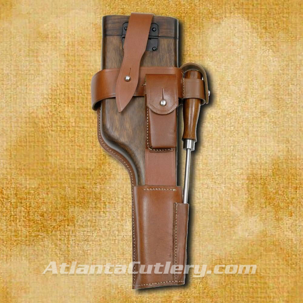 C-96 Wood Buttstock Holster with Leather Belt Harness