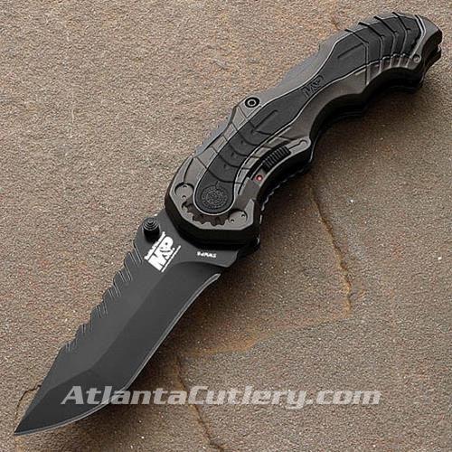 S&W Graphite Handle Black Rubber Inlay Plain Edge