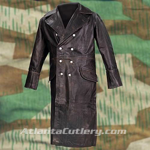 Picture of German WWII Leather Greatcoat - Black