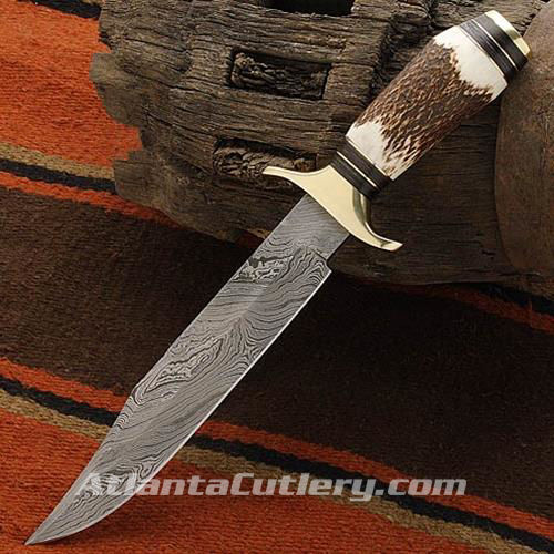 Picture of Stag Handle Damascus Bowie