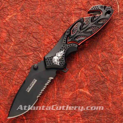 Picture of Flaming Skull Knife Black/Red