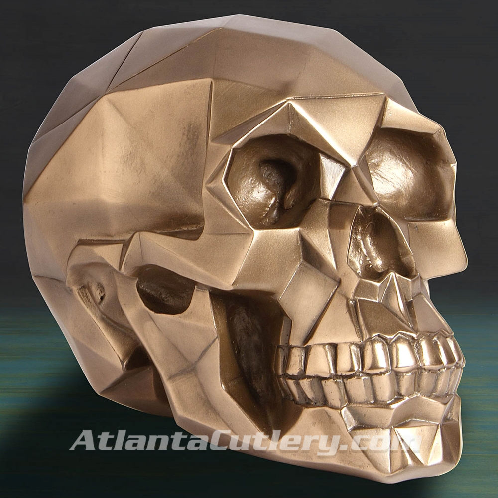 Geodesic Skull Polygon Bronze Statue
