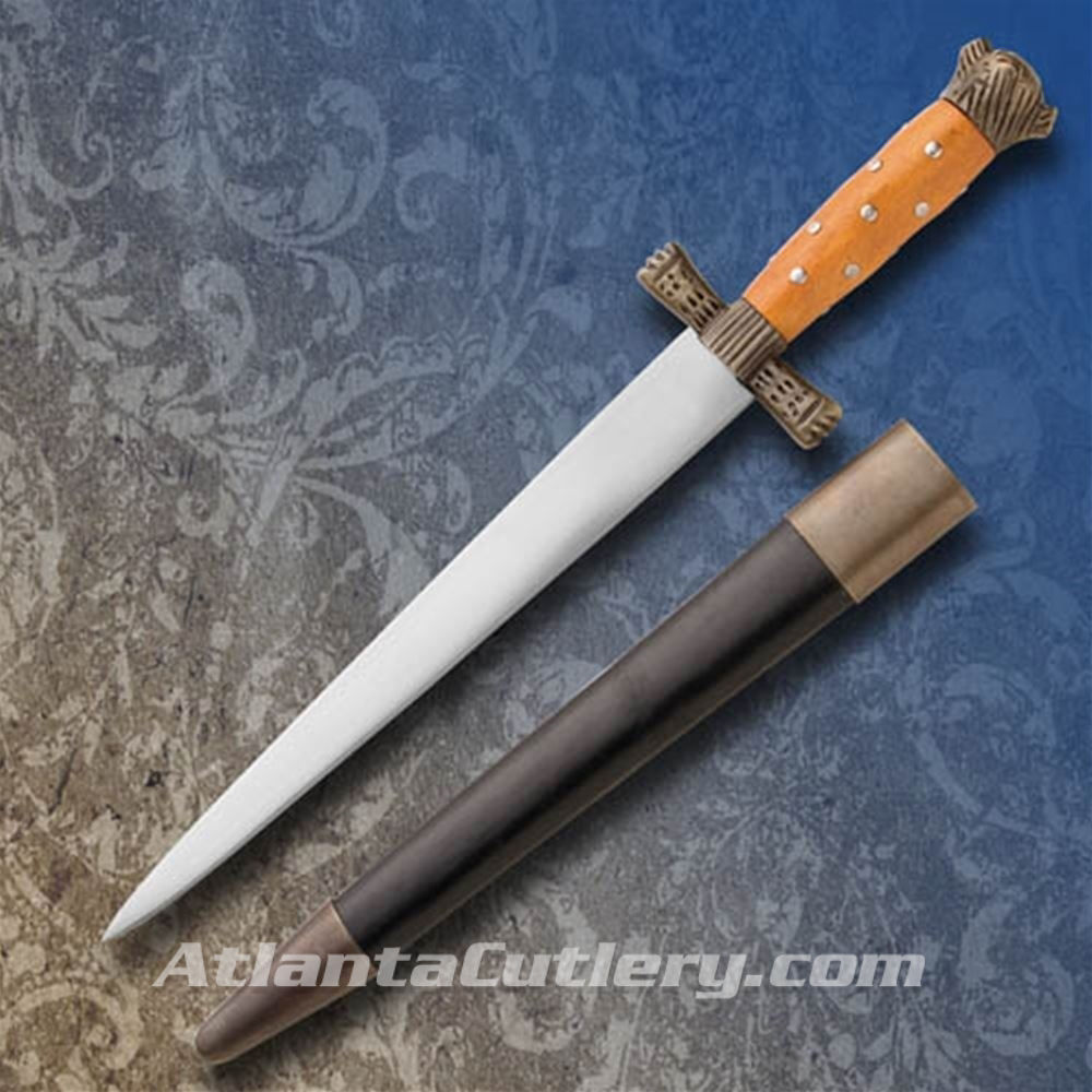 English Hunting Quillion Dagger with Scabbard