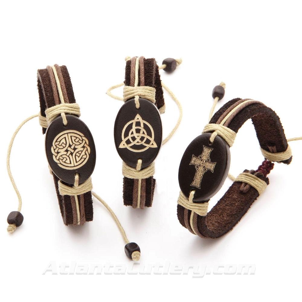 Celtic Leather Bracelet - Set of 3