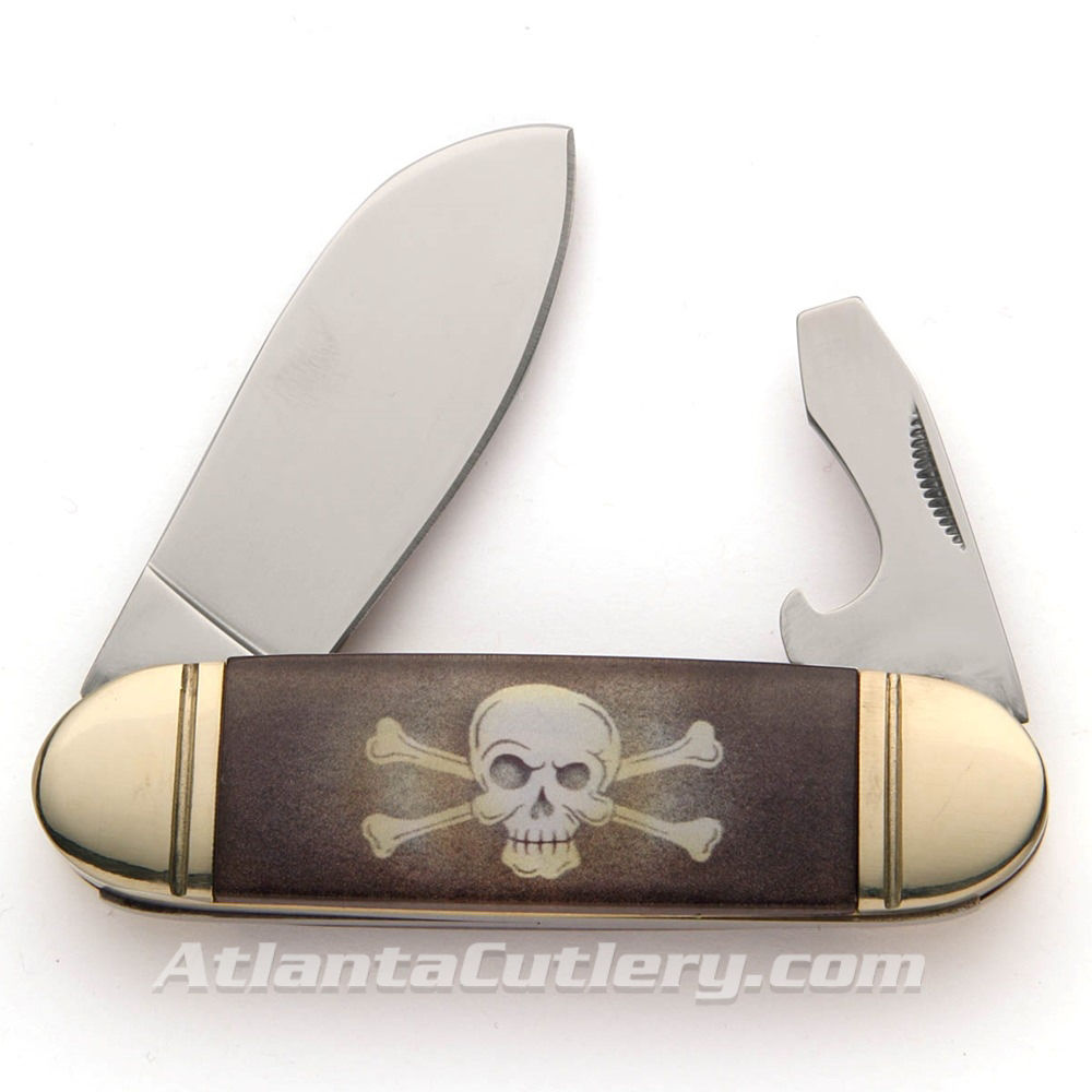 Old Fashioned Sunfish Skull and Crossbones Pocket knife