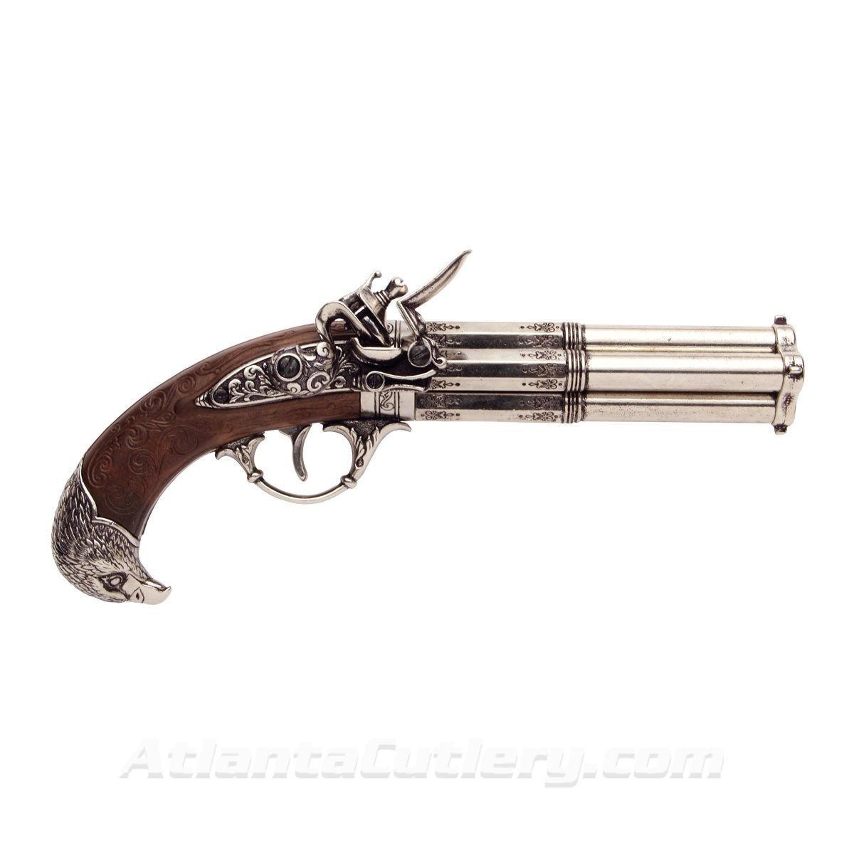 18th Century Four Barrel Flintlock Pistol Replica