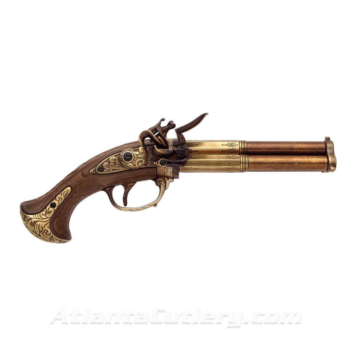 18th Century Three Barrel Flintlock Pistol Replica