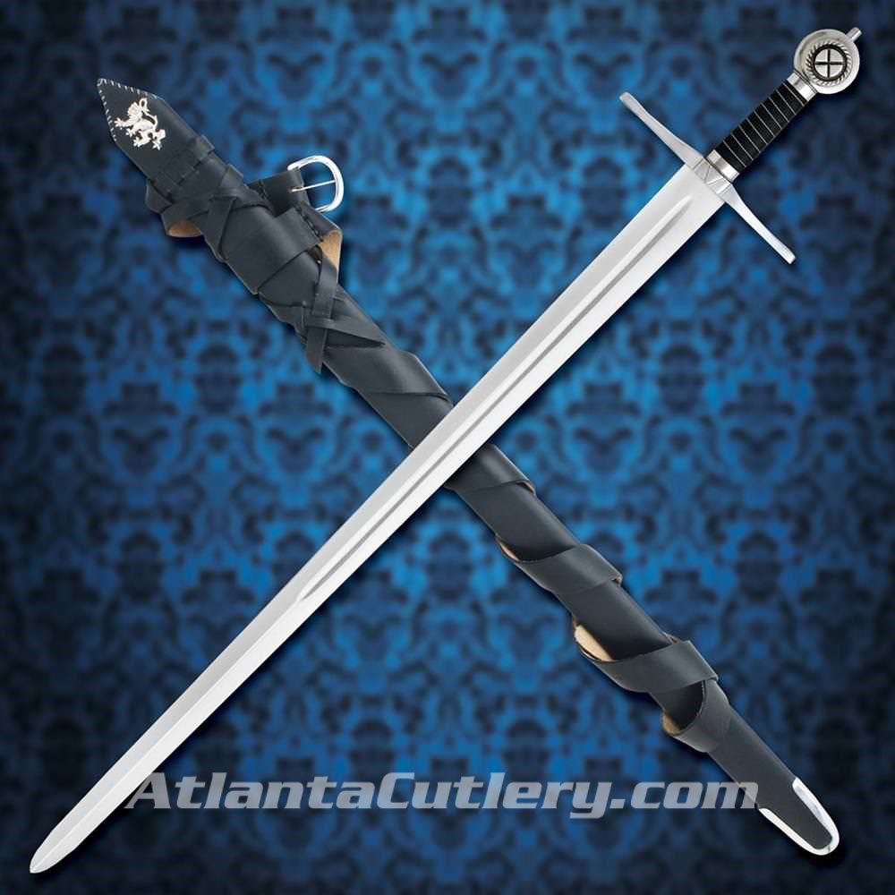 Robert the Bruce sword includes black leather sword belt and scabbard with silver Lion of Scotland  and silver-tipped chape