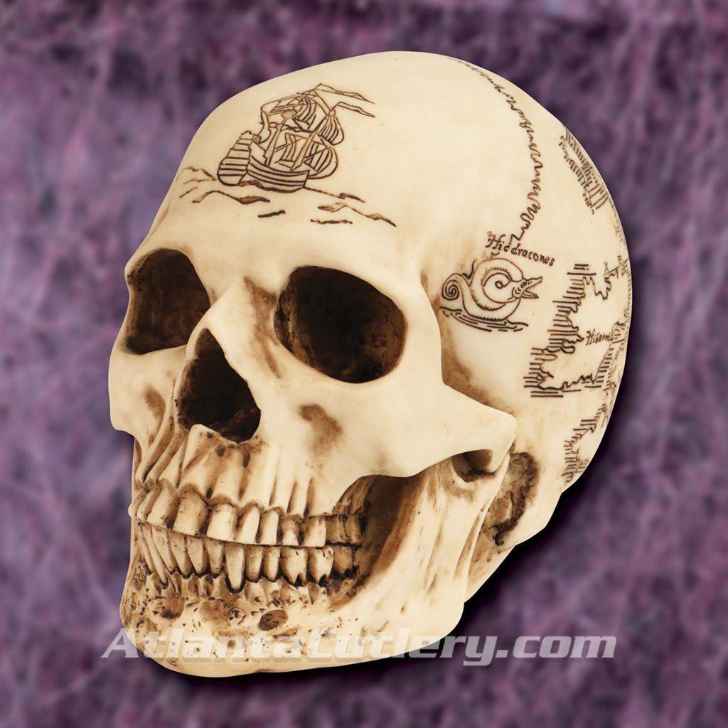 Treasure Map Resin Skull