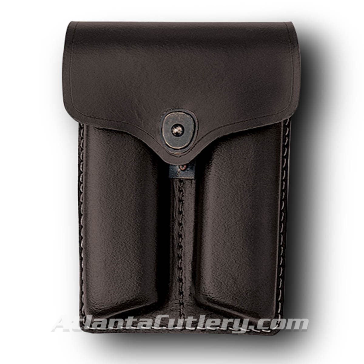 Black Leather 1911 Style Dual Mag Pouch