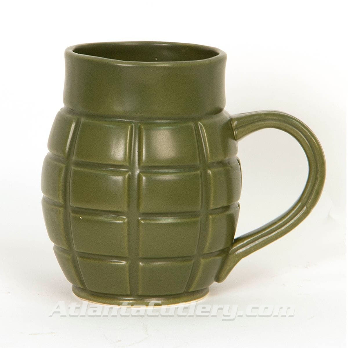 Ceramic Olive Green Grenade 22 oz Coffee Mug