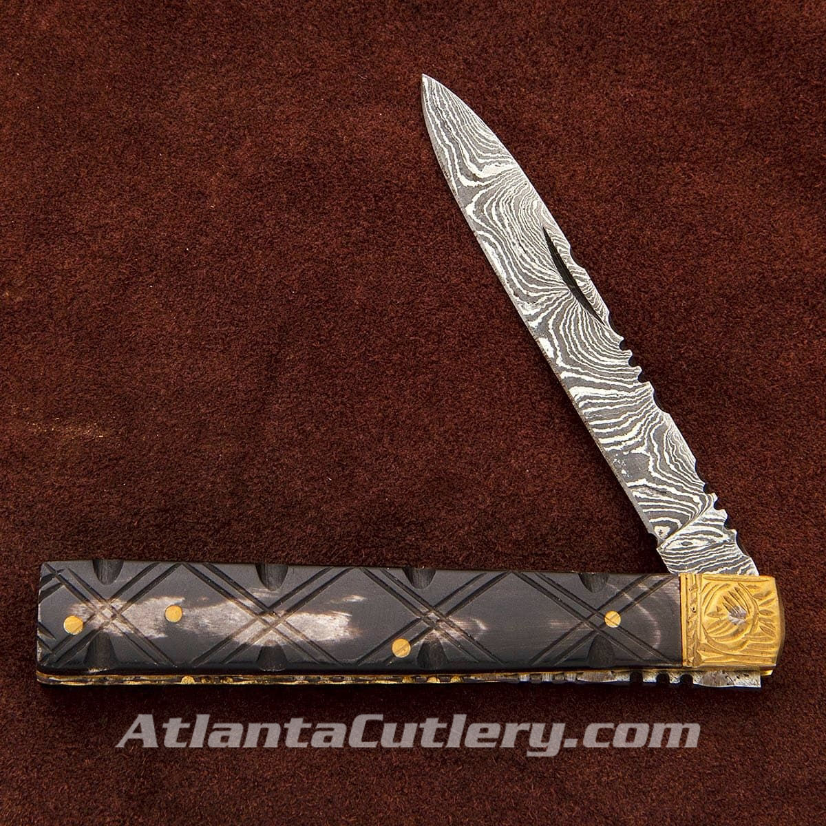 Damascus Doctor's Knife w/ Horn Scales