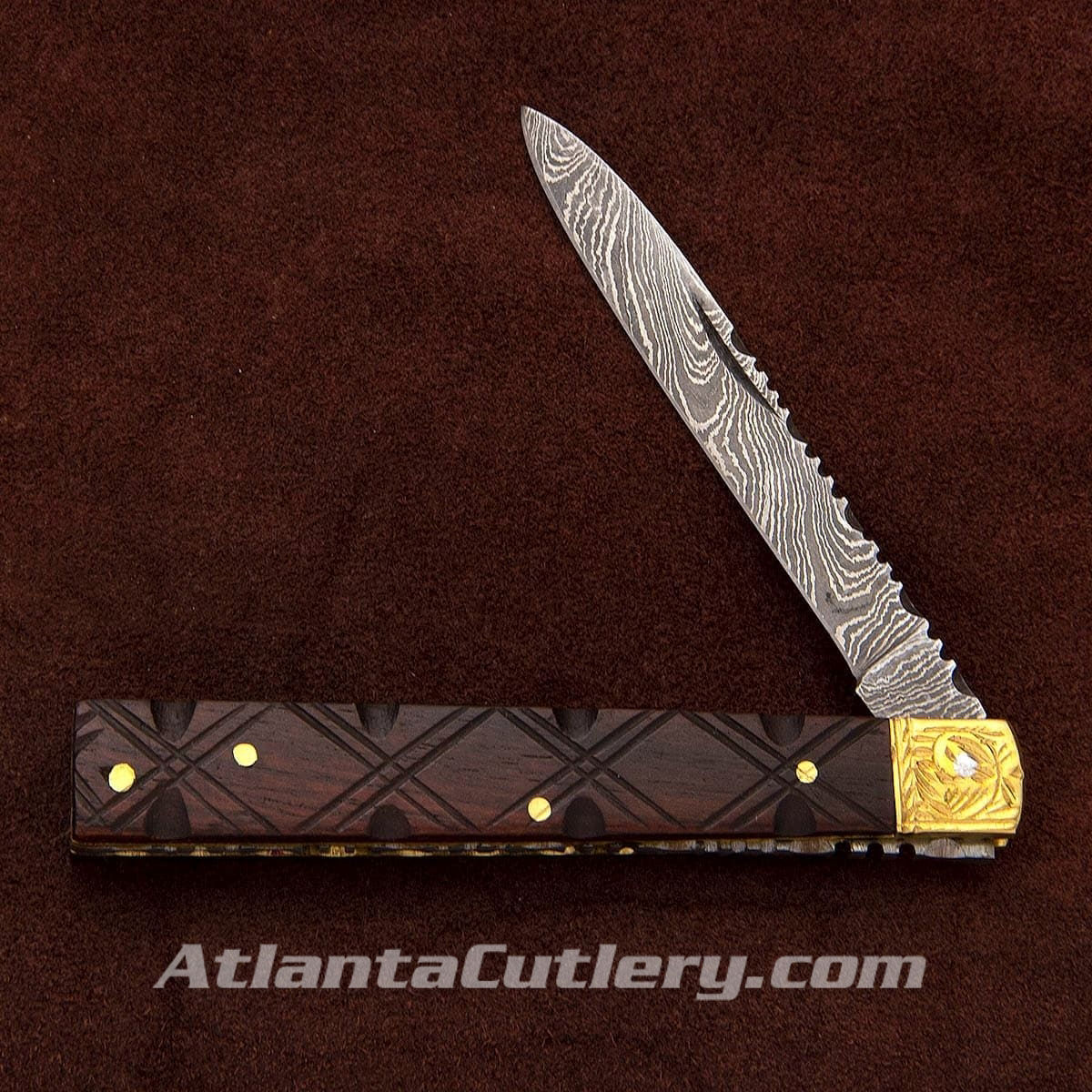 Damascus Doctor's Knife w/ Carved Wood Scales