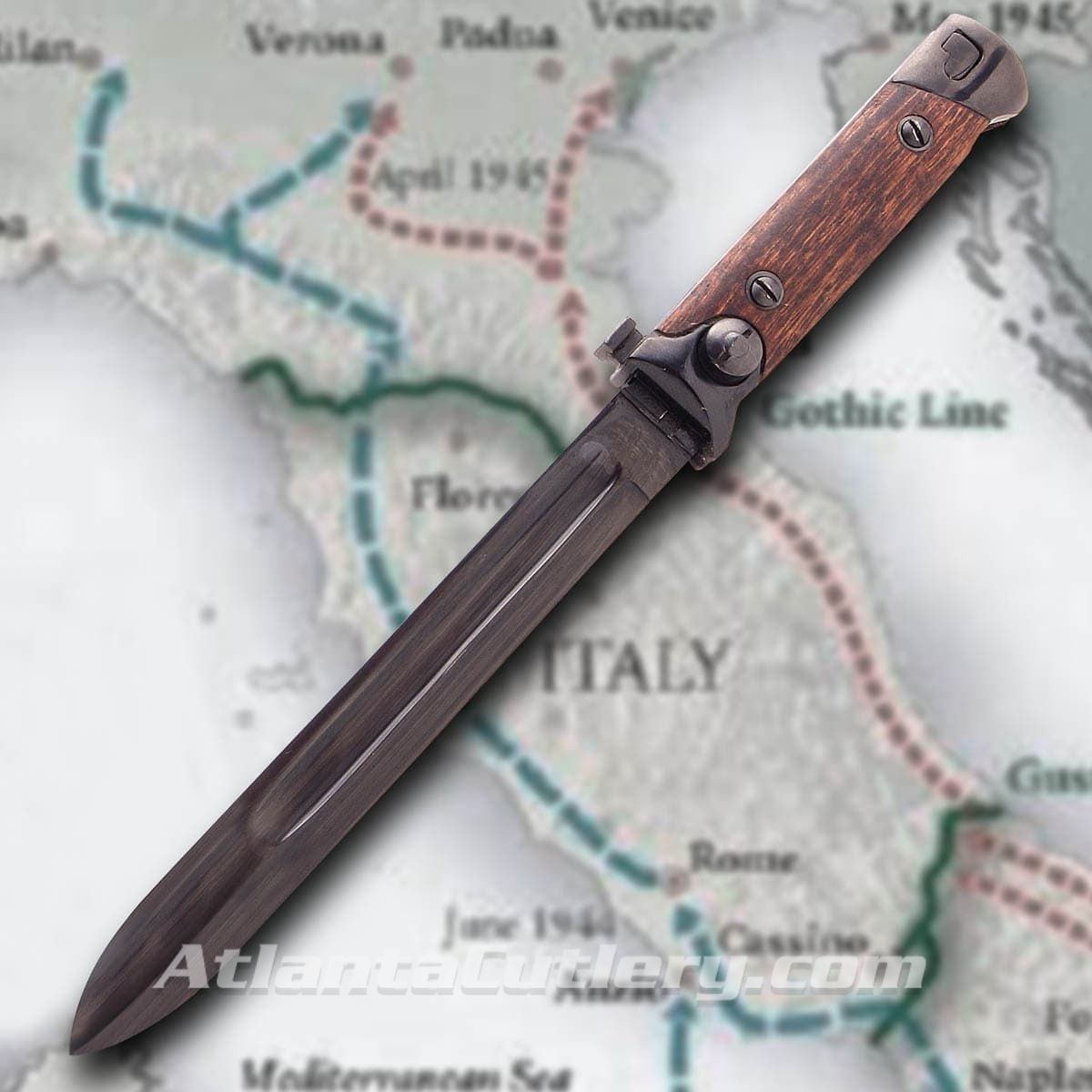 Italian WWII Beretta 38A Folding Bayonet in Sheath