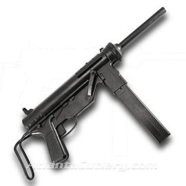 US WWII M3 Grease Gun Non-Firing Replica is metal construction with a telescoping stock and a removable magazine