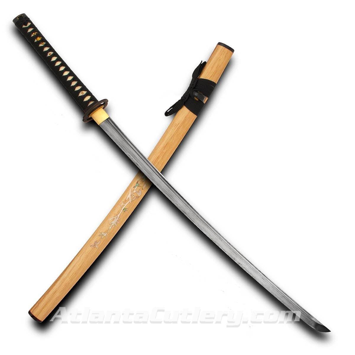 Hand Made Katana with Damascus Blade and Bamboo Motif in Abalone on Saya
