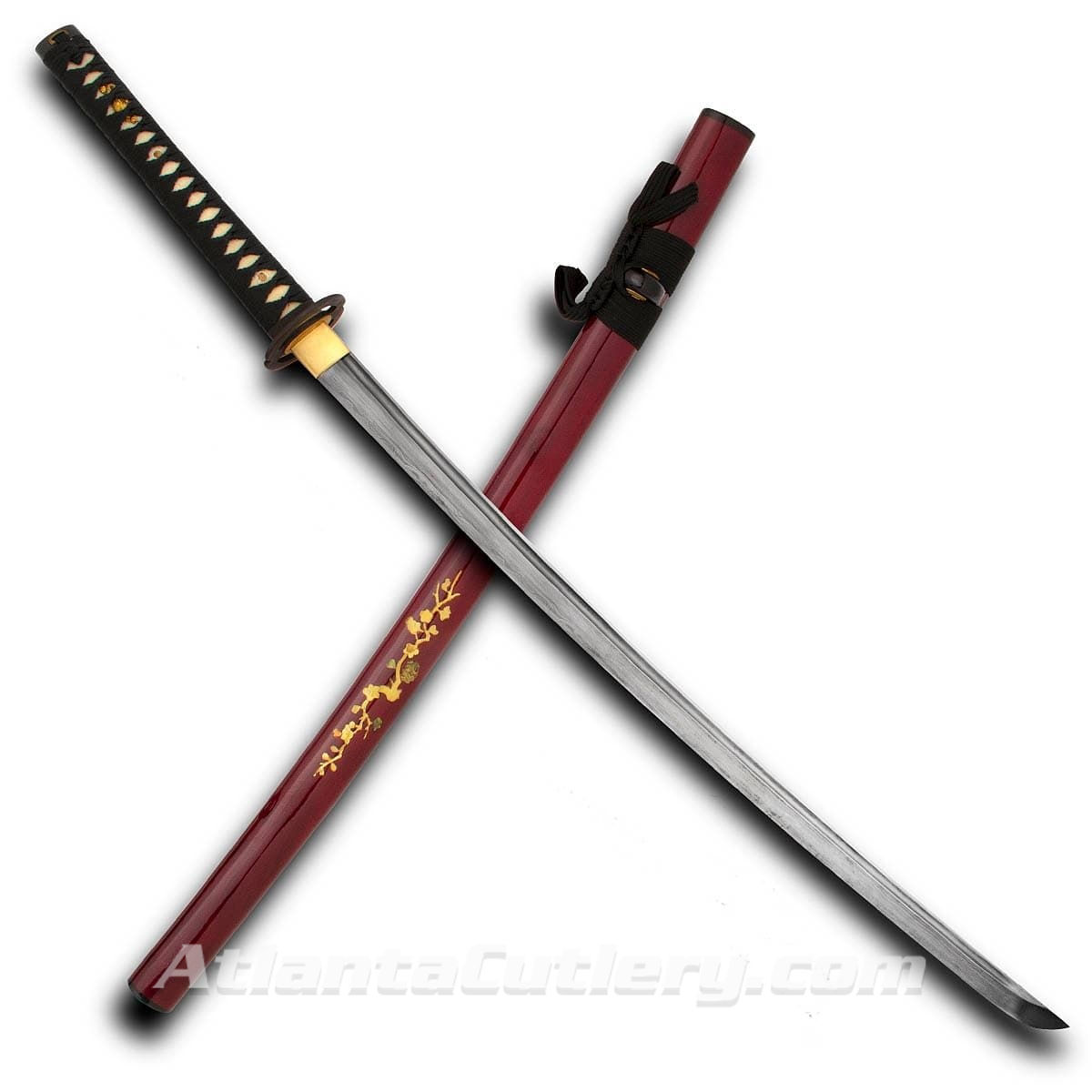Hand Made Blossom Katana with Damascus Blade and Blossom Motif on Cherry Wood Saya