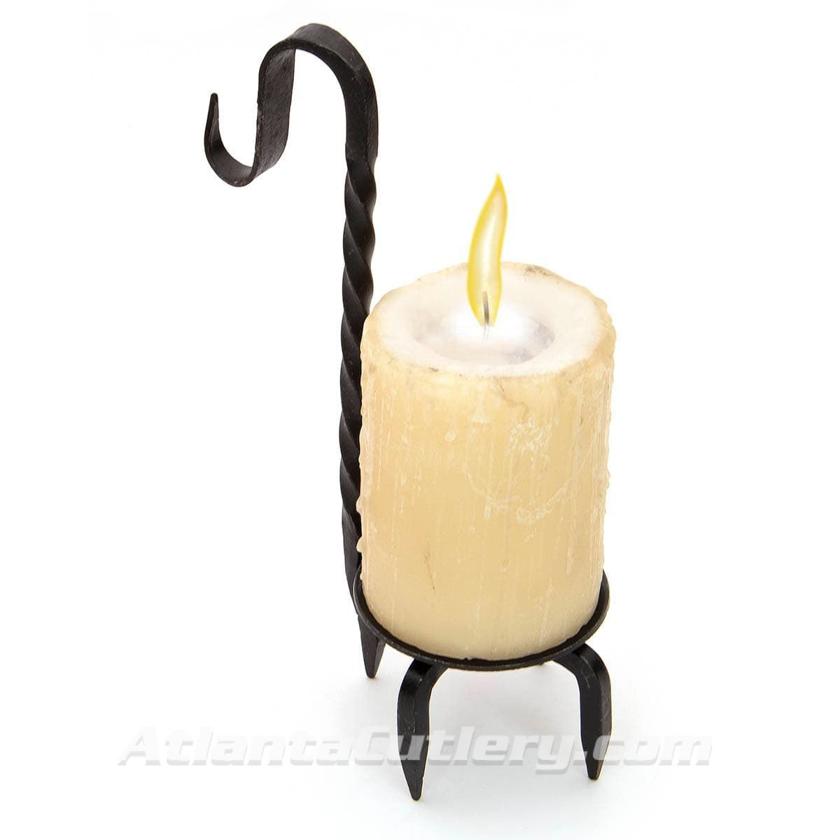Forged Iron Candle Holder shown with Candle
