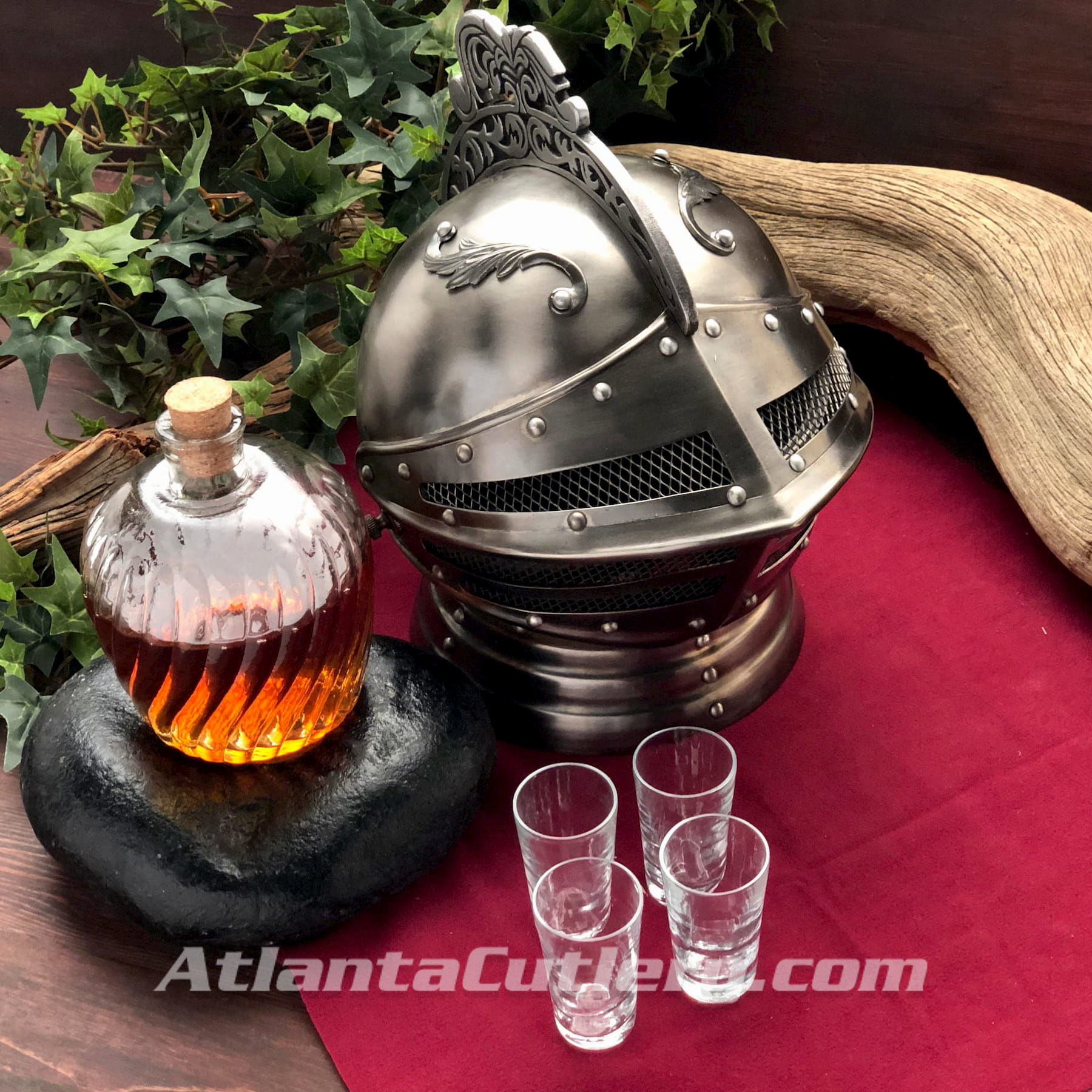 Closed Visor Medieval Helmet Drinking Caddy with Decanter Set