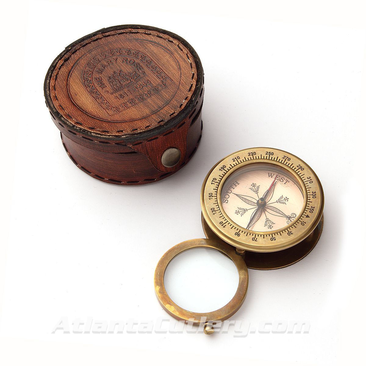 Mary Rose Commemorative Compass Magnifier in Embossed Faux Leather Case