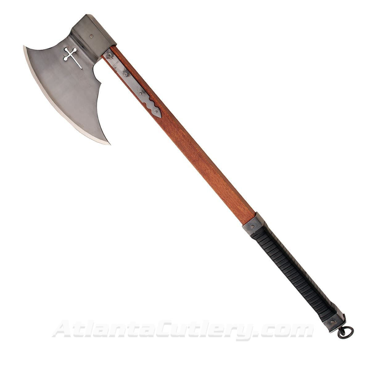 Axe of the Crusades with Sharpened Blade, Hardwood Shaft and Leather Covered Grip