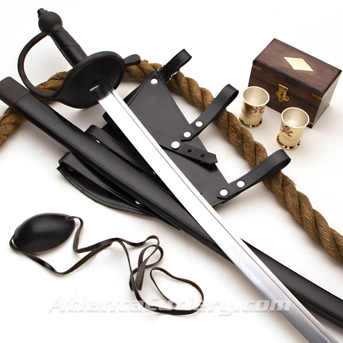 The Swashbuckler Box with Sword, Leather Frog, eye patch and set of shot glasses