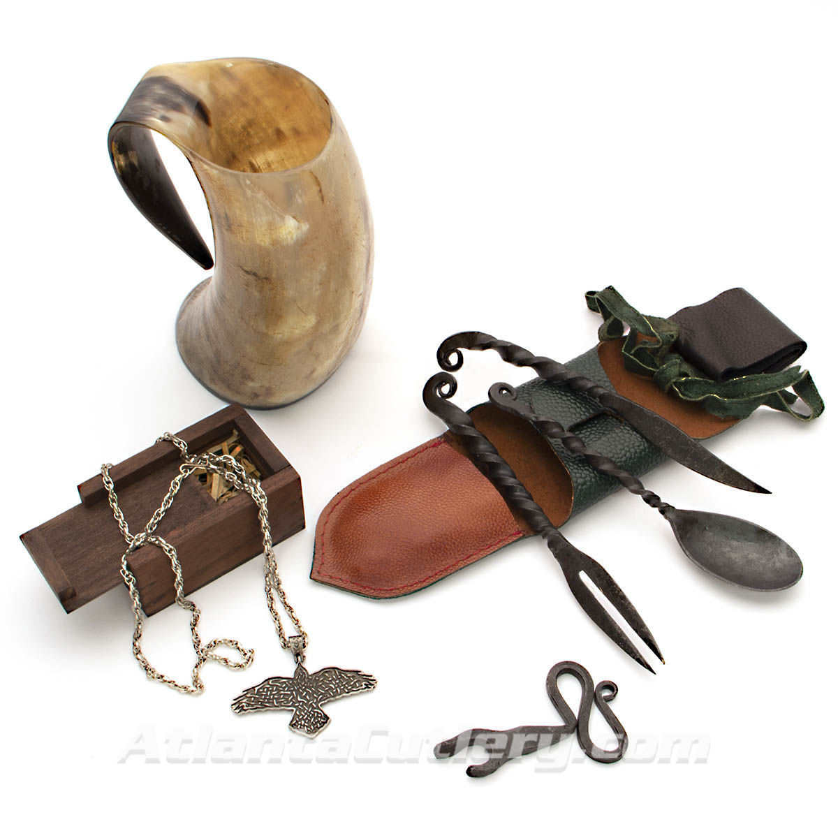 Viking Celebration Kit with Horn Tankard, Feasting Utensils with Leather Belt Pouch, Iron Bottle Opener and Pewter Raven Pendant
