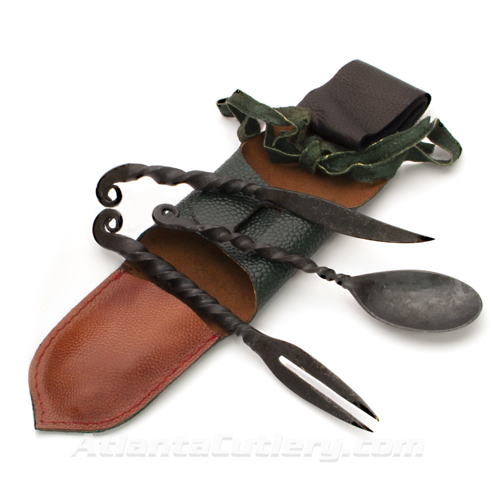 Forged Iron Feasting Utensils With Pouch