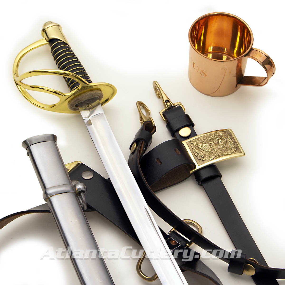 The Union Kit with 1860 Light Cavalry Union Saber and scabbard, sword belt and engraved copper coffee mug