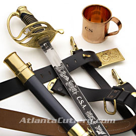 The Confederate Kit with Confederate Cavalry Officer's Saber , Leather Belt with Brass Confederate Buckle and engraved Copper Mug