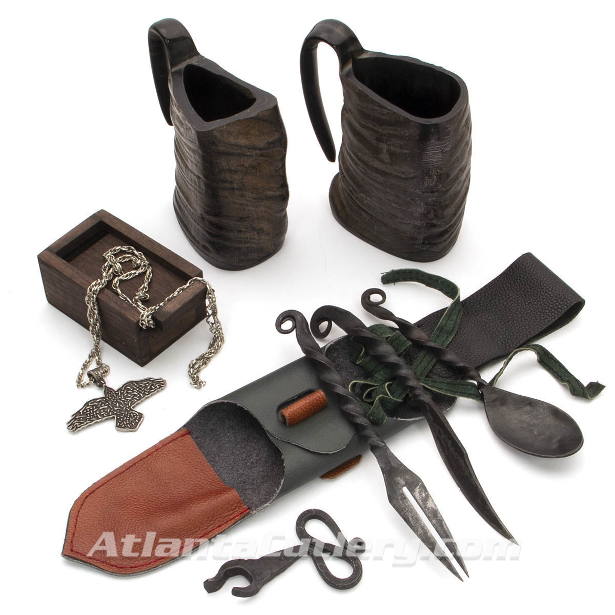Viking Celebration Kit with 2 Horn Mugs, Feasting Utensils with Leather Belt Pouch, Iron Bottle Opener and Pewter Raven Pendant