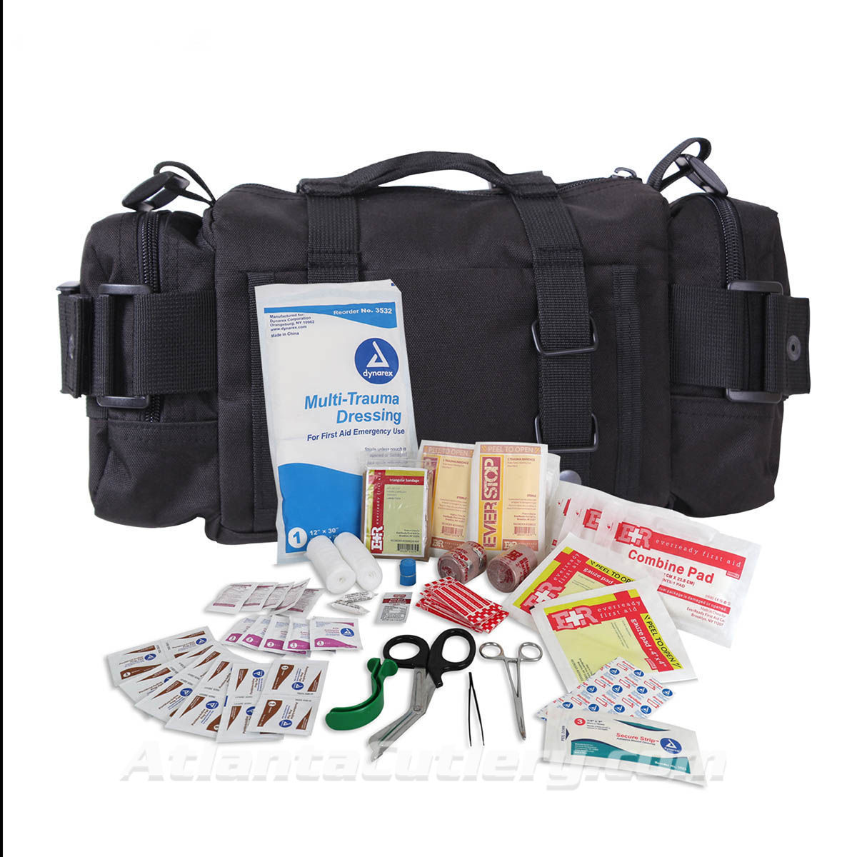 Fast Access MOLLE Tactical Trauma Kit contains over 80 essential first aid supply items packed into a convenient Convertipack.